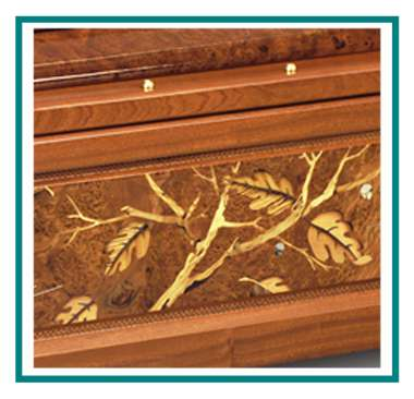 rotastyle casket manufacturer leaves in the wind mahogany detail2