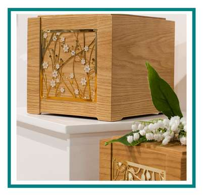 rotastyle cremation urn manufacturer brass oak detail1